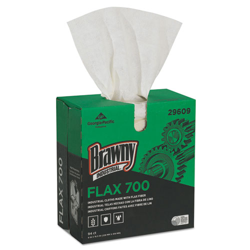Brawny Industrial® FLAX 700 Medium Duty Cloths, 9 x 16 1/2, White, 94/Box, 10 Box/Carton