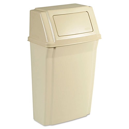 Rubbermaid® Commercial Slim Jim Wall-Mounted Container, Rectangular, Plastic, 15gal, Beige
