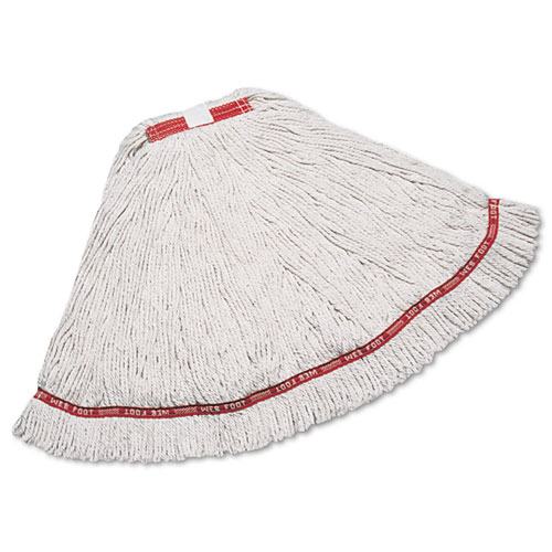 "Web Foot Wet Mop, Cotton/Synthetic, White, Large, 1"" Red Headband, 6/Carton 
