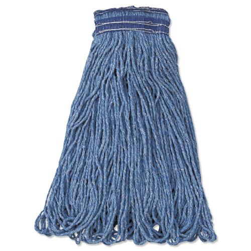 Universal Headband Mop Head, Cotton/Synthetic, 24oz, Blue, 12/Carton | by Plexsupply
