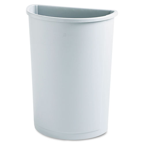 Rubbermaid® Commercial Untouchable Waste Container, Half-Round, Plastic, 21 gal, Beige