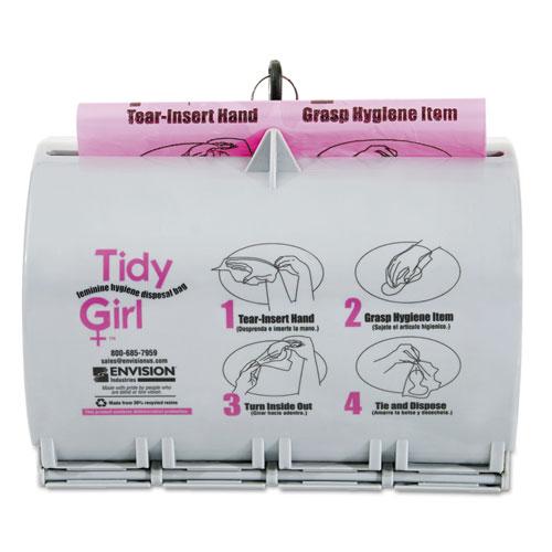 Tidy Girl™ Plastic Feminine Hygiene Disposal Bag Dispenser, Gray
