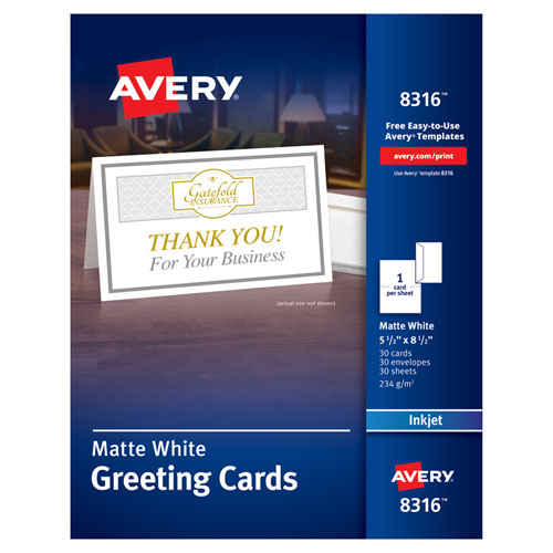 Half-Fold Greeting Cards, Inkjet, 5 1/2 x 8.5, Matte White, 30/Box w/Envelopes