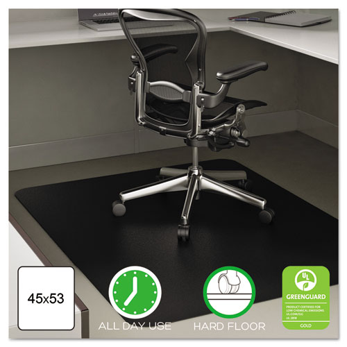 EconoMat All Day Use Chair Mat for Hard Floors, 45 x 53, Rectangular, Black | by Plexsupply