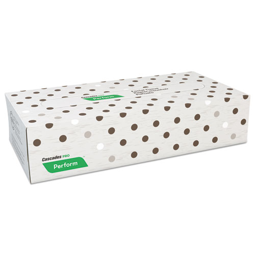 "Cascades PRO Perform Facial Tissue, 2-Ply, Beige, 8 1/2"" x 7.5"", 100/Box, 30 Boxes/Carton"
