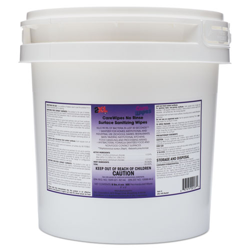 2XL CareWipes Surface Sanitizing Wipes, 10 x 10, 500/Bucket, 2/CT
