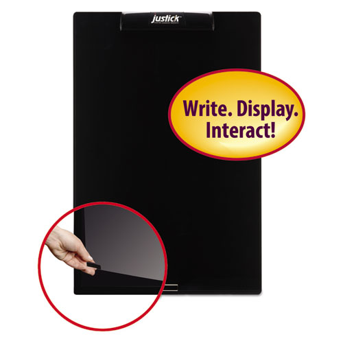Justick Frameless Electro-Surface Dry-Erase Board w/Clear Overlay, 16 x 24, BK
