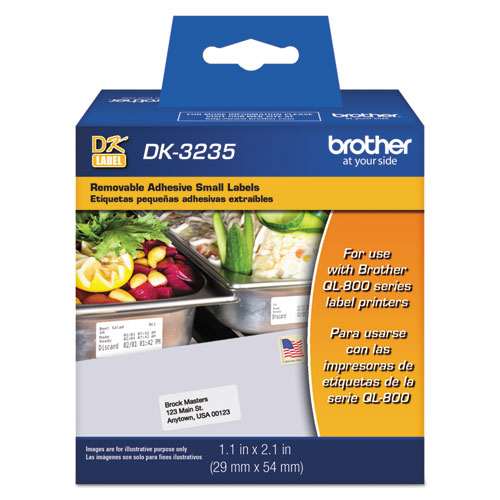 Die-Cut Removable Paper Labels, 1.1 x 2.1, White, 800/Roll