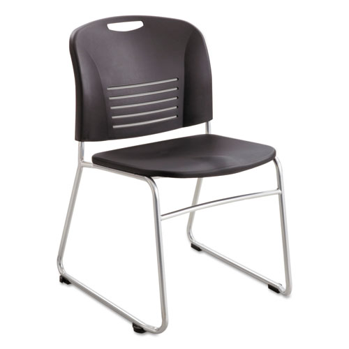 Vy Series Stack Chairs, Black Seat/Black Back, Silver Base, 2/Carton | by Plexsupply