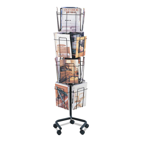 Wire Rotary Display Racks, 16 Compartments, 15w x 15d x 60h, Charcoal | by Plexsupply