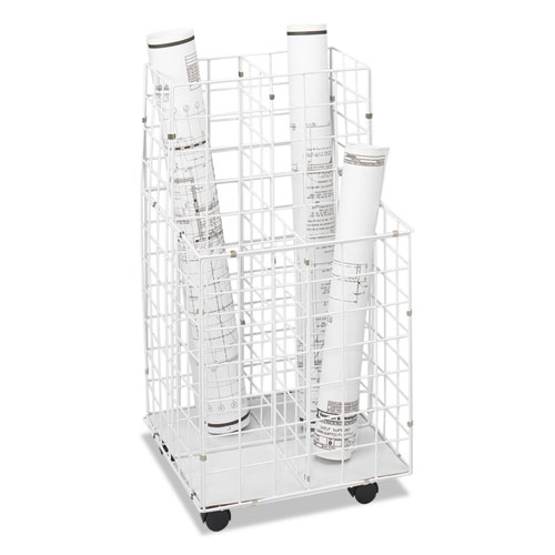 Wire Roll Files, 4 Compartments, 16.25w x 16.5d x 30.5h, White