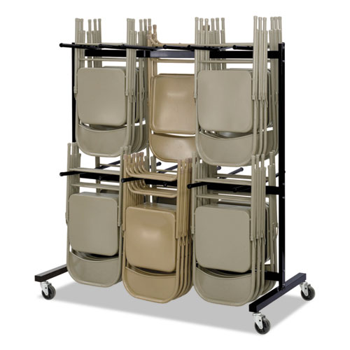 Safco® Two-Tier Chair Cart, 64.5w x 33.5d x 70.25h, Black