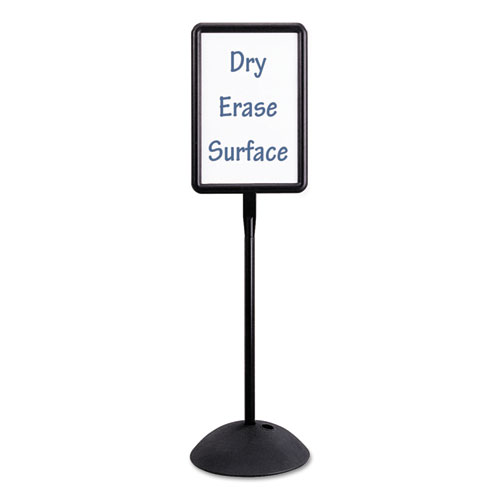 Double Sided Sign, Magnetic/Dry Erase Steel, 18 x 18, White, Black Frame | by Plexsupply