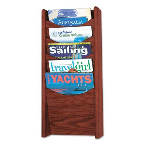 Solid Wood Wall-Mount Literature Display Rack, 11.25w x 3.75d x 23.75h, Mahogany | by Plexsupply