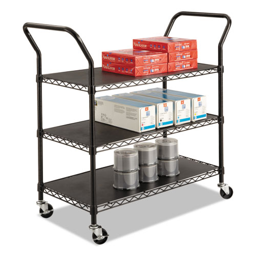 Wire Utility Cart, Three-Shelf, 43.75w x 19.25d x 40.5h, Black | by Plexsupply