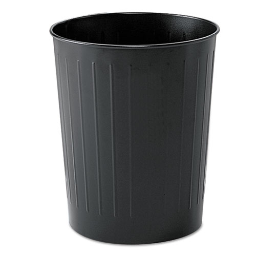 Round Wastebasket, Steel, 23.5 qt, Black | by Plexsupply