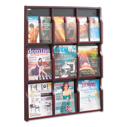 Expose Adjustable Magazine/Pamphlet 9 Pocket Display, 29.75w x 2.5d x 38.25h, Mahogany