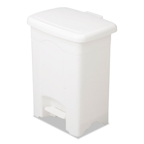 Step-On Receptacle, Rectangular, Plastic, 4 gal, White | by Plexsupply