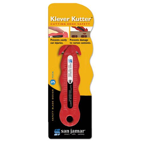 Klever Kutter Safety Cutter, 3 Razor Blades, Red | by Plexsupply
