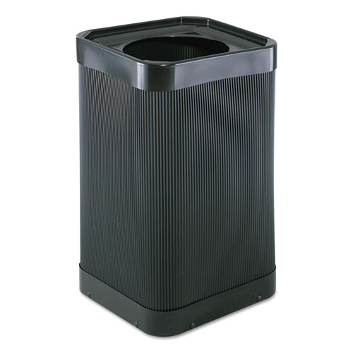 At-Your Disposal Top-Open Waste Receptacle, Square, Polyethylene, 38 gal, Black | by Plexsupply