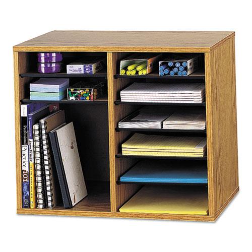 Wood/Fiberboard Literature Sorter, 12 Sections, 19 5/8 x 11 7/8 x 16 1/8, Oak | by Plexsupply