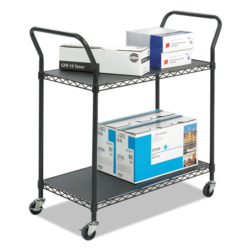 Wire Utility Cart, Two-Shelf, 43.75w x 19.25d x 40.5h, Black | by Plexsupply
