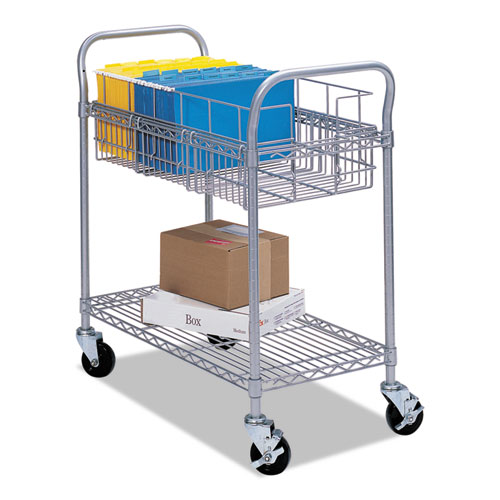 Wire Mail Cart, 600-lb Capacity, 18.75w x 26.75d x 38.5h, Metallic Gray