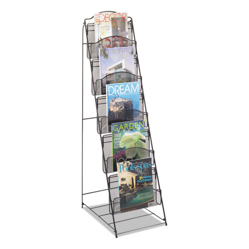 Onyx Magazine Floor Rack, 12.5w x 18.5d x 46h, Black