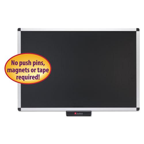 Justick Premium Aluminum-Frame Electro-Surface Bulletin Board, 36 x 24, Silver