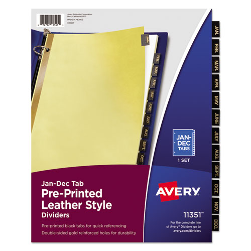 Preprinted Black Leather Tab Dividers W Gold Reinforced Edge 12 Ltr Quick View Avery
