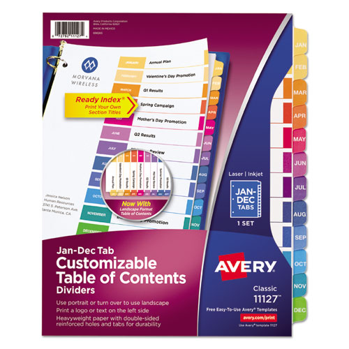 Customizable TOC Ready Index Multicolor Dividers, 12-Tab, Letter | by Plexsupply