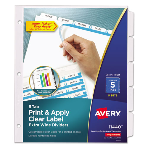 Superwarehouse print apply clear label dividers w for Avery easy apply 5 tab template