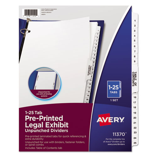 Preprinted Legal Exhibit Side Tab Index Dividers, Avery Style, 25-Tab, 1 to 25, 11 x 8.5, White, 1 Set | by Plexsupply