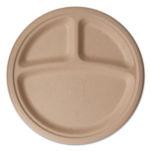 "Wheat Straw Dinnerware, 3 Compartment Plate, 10"" Diameter, 500/Carton"