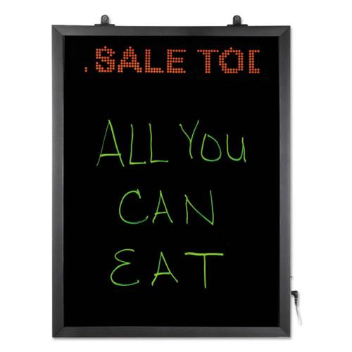 LED Erasable Message Board w/Programmable Message Board, 22 1/2 x 16 1/2, Black