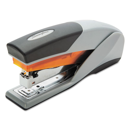 Optima 25 Reduced Effort Stapler, 25-Sheet Capacity, Gray/Orange | by Plexsupply