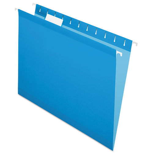 Colored Reinforced Hanging Folders, Letter Size, 1/5-Cut Tab, Blue, 25/Box | by Plexsupply