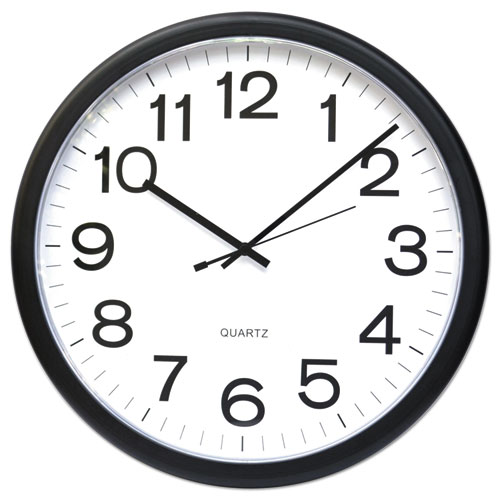 "Round Wall Clock, 13.5"" Overall Diameter, Black Case, 1 AA (sold separately) 