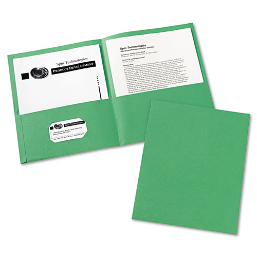 Two-Pocket Folder, 40-Sheet Capacity, Green, 25/Box | by Plexsupply