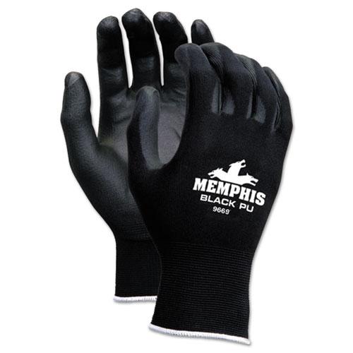 Economy PU Coated Work Gloves, Black, Large, 1 Dozen