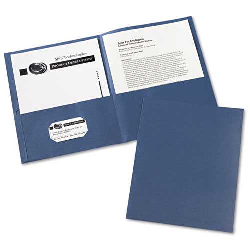 Avery® Two-Pocket Folder, 40-Sheet Capacity, Dark Blue, 25/Box