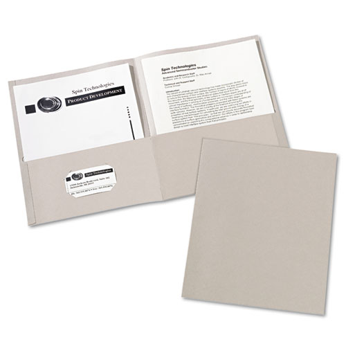 Two-Pocket Folder, 40-Sheet Capacity, Gray, 25/Box | by Plexsupply