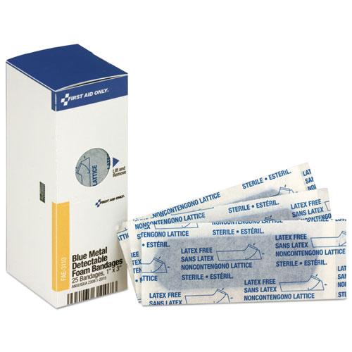 Metal Detectable Adhesive Bandages, Foam, Blue, 1 x 3, 25/Box