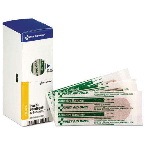Refill for SmartCompliance General Business Cabinet, Plastic Bandages,1x3, 40/Bx