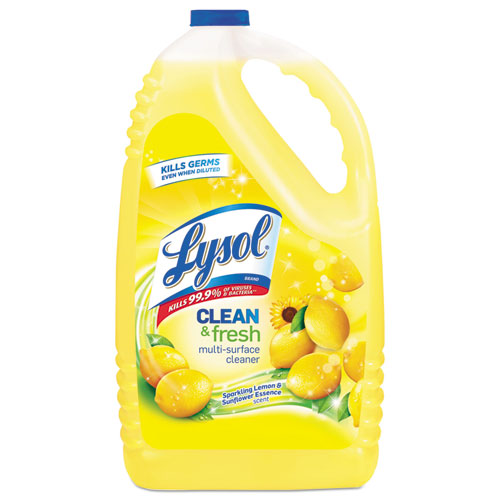 Clean and Fresh Multi-Surface Cleaner, Sparkling Lemon and Sunflower Essence, 144 oz Bottle, 4/Carton