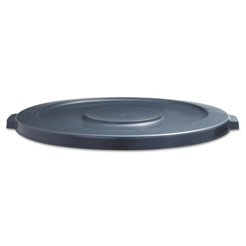 Lids for 44 gal Waste Receptacles, Flat-Top, Round, Plastic Gray