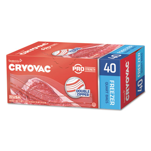 Cryovac One Quart Freezer Bag Dual Zipper, 1 qt, 2.5 mil, 7 x 7.94, Clear, 360/Carton