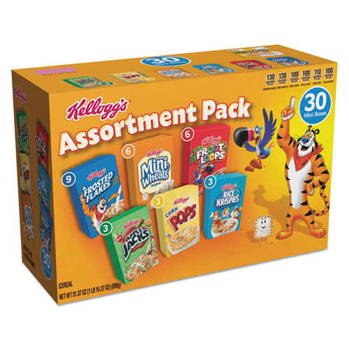 Kellogg's® Breakfast Cereal Mini Boxes, Assorted, 2.39 oz Box, 30/Carton