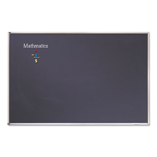 Porcelain Black Chalkboard with Aluminum Frame, 48 x 96, Silver | by Plexsupply