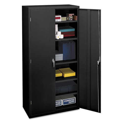 Assembled Storage Cabinet, 36w x 18 1/8d x 71 3/4h, Black | by Plexsupply